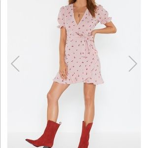Cherry Printed Faux Wrap Dress from NastyGal